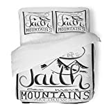 SanChic Duvet Cover Set Our Faith Can Move Mountains Inspirational Motivational Quote in Christian Religion Words About God Decorative Bedding Set 2 Pillow Shams King Size