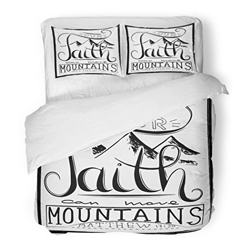 SanChic Duvet Cover Set Our Faith Can Move Mountains Inspirational Motivational Quote in Christian Religion Words About God Decorative Bedding Set 2 Pillow Shams King Size by SanChic