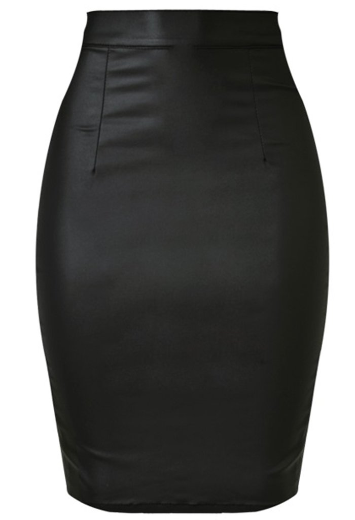 Wantmore Womens Below The Knee Pencil Skirt Faux Leather Premium Stretch Office Pencil Skirt Black XL 10