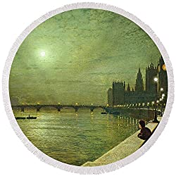 Pixels Round Beach Towel With Tassels featuring Reflections On The Thames by Pixels