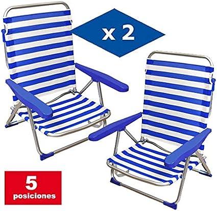 VIP HOGAR Pack 2 Sillas Multiposiciones Caballito Playa//Jard/ín de Aluminio con Tejido Exterior Azul y Blanco