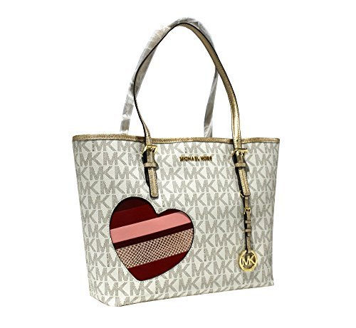 266ec64c388d MICHAEL Michael Kors Women's HEARTS Jet Set Travel MEDIUM Leather Carry All Tote  Handbag