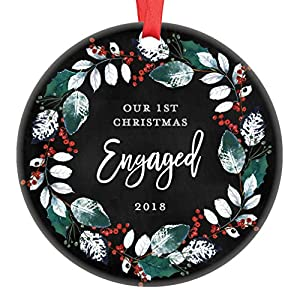 "First Christmas Engaged Couple 2019 Ornament Engagement Party Bridal Shower Gift Future Mr Mrs Bride to Be Present Pretty Holiday Wreath Keepsake 3"" Flat Circle Ceramic with Red Ribbon & Free Box 68"