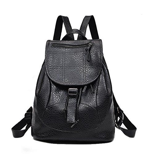 Yeshi - Bolso mochila para mujer Negro Negro 27cm x 15cm x 36cm