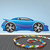 azutura Blue Sports Car Wall Sticker Fun Race Car Wall Decal Boys Bedroom Home Decor available in 8 Sizes Medium Digital