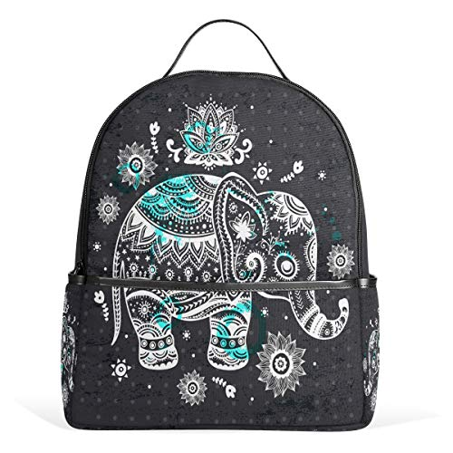 Wamika Vintage Ethnic Elephant Lotus Flowers Backpack Bookbags Daypack Bags Water Resistant, Wildlife Animal Elephant Indian Persian Floral Bag Mini Backpack Purse Travel Sports for Men - Persian Light Lotus