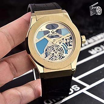 Hombres Plata Oro Rosa Acero Inoxidable Mecánico automático Zafiro Tourbillon Reloj de Cuero marrón Negro