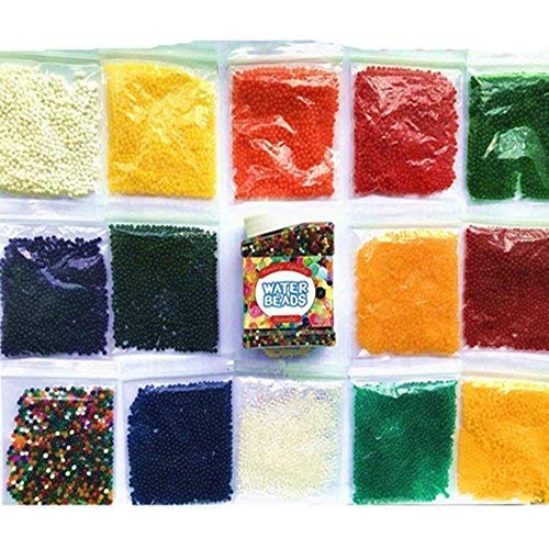 AFUNNY 15 OZS of 120,000 Water Beads 14 Colors Individual Bags and 1 Box Mix Beads Crystal Soil Water Bead Gel for VASE Refill, Sensory Toys, Vase Filler