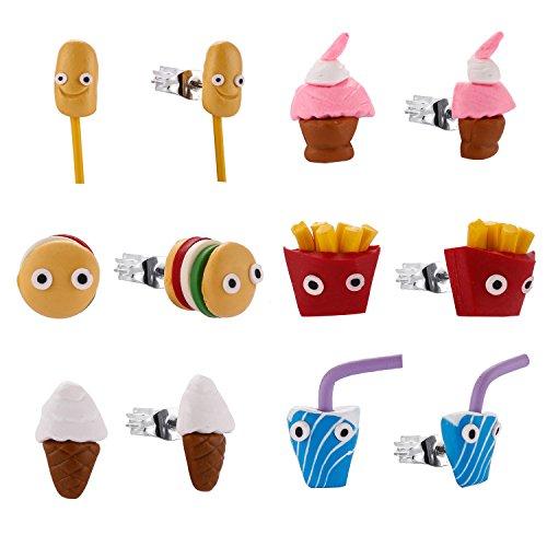 Minihope Kids Jewelry, Hypoallergenic Polymer Clay Earrings Set for little girls, Colorful Food Stud Earrings for Children.