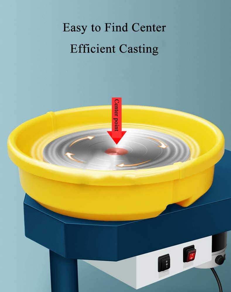 110V, Ordinary Type Huanyu Pottery Machine Ceramic Machine Pottery Wheel 250W 30CM Pottery Forming Machine with Foot Pedal and Detachable Basin