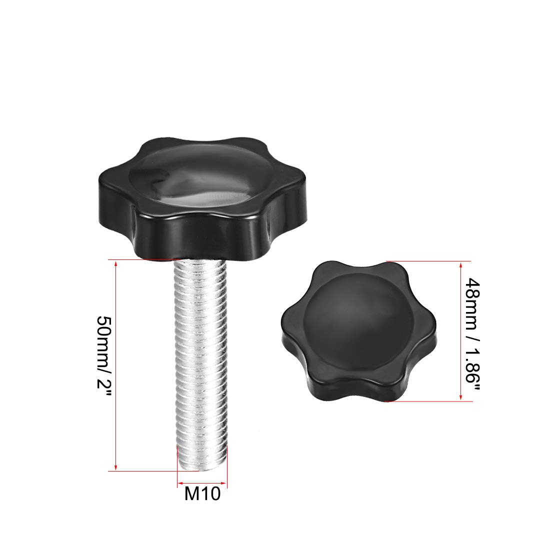 sourcing map vis serrage molette 48mm Dia bouton Hex Prune Poign/ées M10/×20mm filetage m/âle