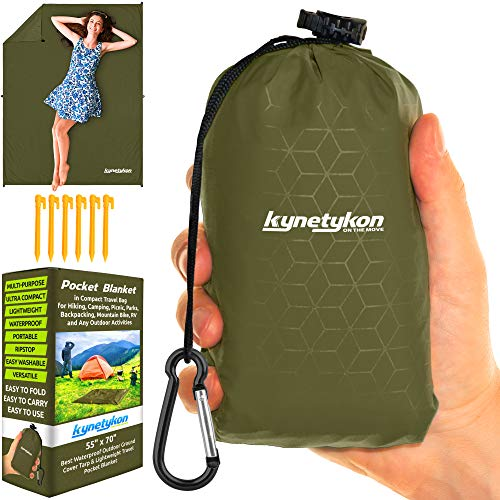 KYNETYKON Beach Picnic Blanket, Waterproof Pocket Blanket 55x70 – Compact Outdoor Mat for Travel, Hiking, Camping, Parks, Festival, Concerts, Sports, Bike. Camping Tarp w/ 6 Loops & Stakes, Pouch