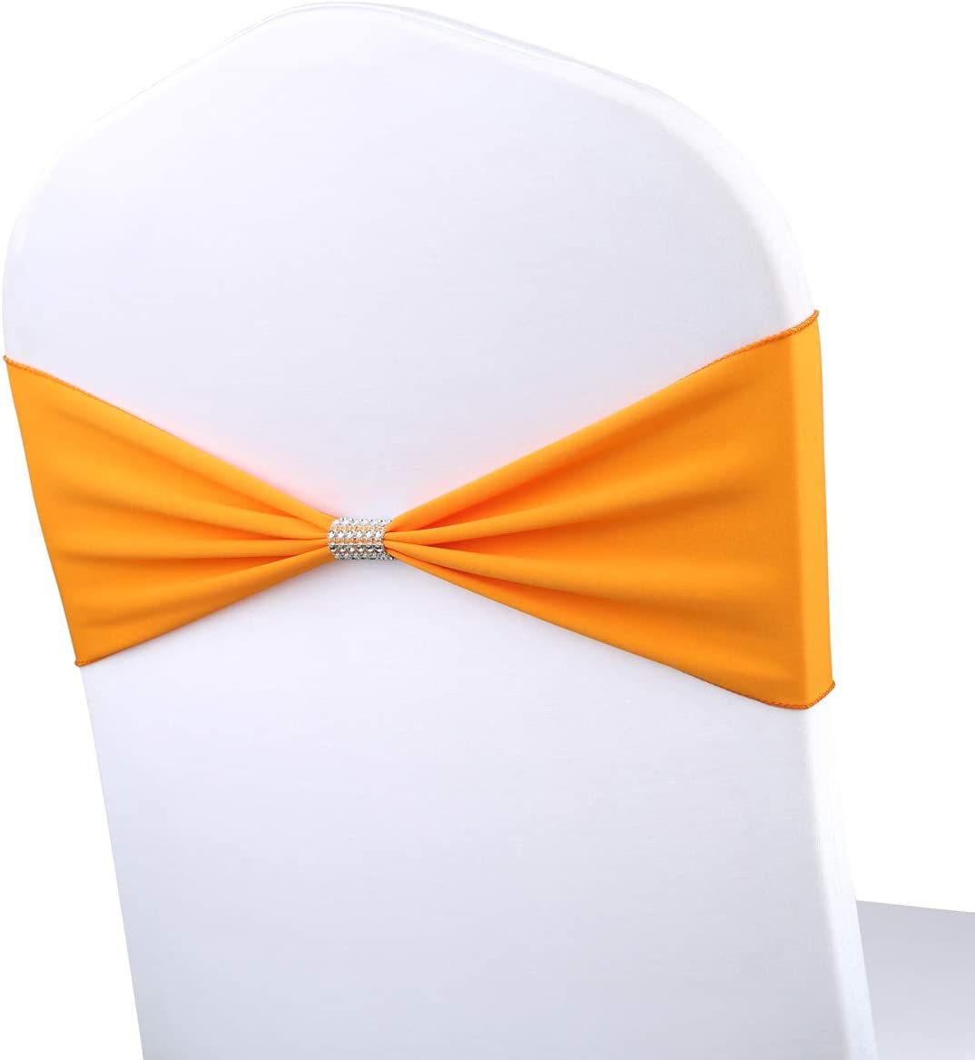 Thoxia 50PCS Stretch Spandex Wedding Chair Sashes Bows Elastic Banquet Party Decoration Chairs Bands with Bling Rhinestone Mesh Birthday Reception Ceremony Event Decor Supplies (Orange)