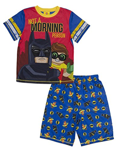 (LEGO Batman Boys' Big Movie Batman-Robin 2-Piece Pajama Short Set, BLURED, 8)