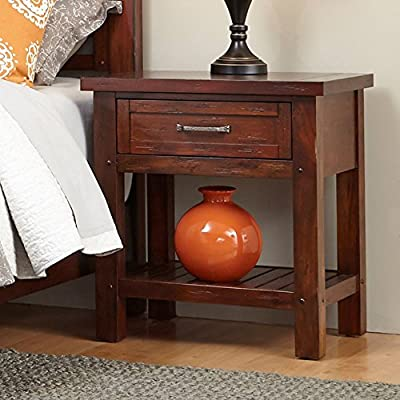 Home Styles Cabin Creek Nightstand - Dimensions: 24W x 18D x 26H in. Crafted of mahogany solids and veneers Warm chestnut finish - nightstands, bedroom-furniture, bedroom - 51KFGJejvOL. SS400  -