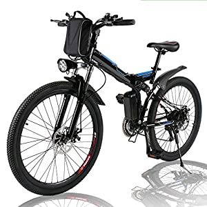Angotrade 26 inch Electric Bike Folding Mountain E-Bike 21 Speed 36V 8A Lithium Battery Electric Bicycle for Adult