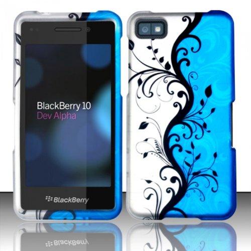 Silver Blue Vine Hard Cover Case for Blackberry Z10 by ApexGears