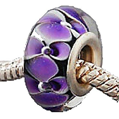 Charm Buddy Black Purple Flowers Glass Charms Bead Fits Silver Pandora Style Bracelets