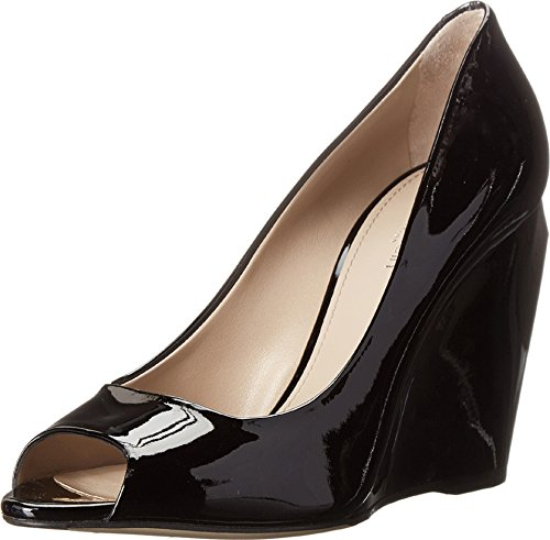Open Toe Patent Leather Wedges (Calvin Klein Women's Open Toe Patent Leather Wedge Pumps, Black, 39.5/9.5)