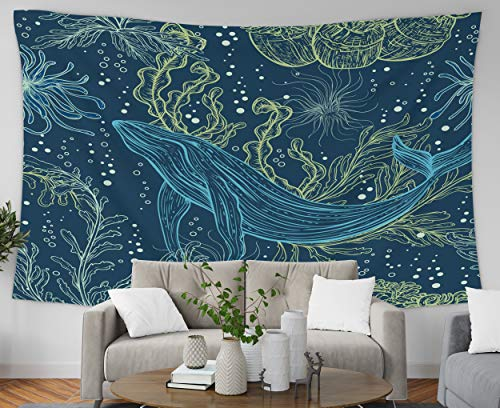 Pamime Home Decor Tapestry for Pattern Whale Marine Plants Seaweeds Vintage Wall Tapestry Hanging Tapestries for Dorm Room Bedroom Living Room 80x 60 Inches Bedspread ()