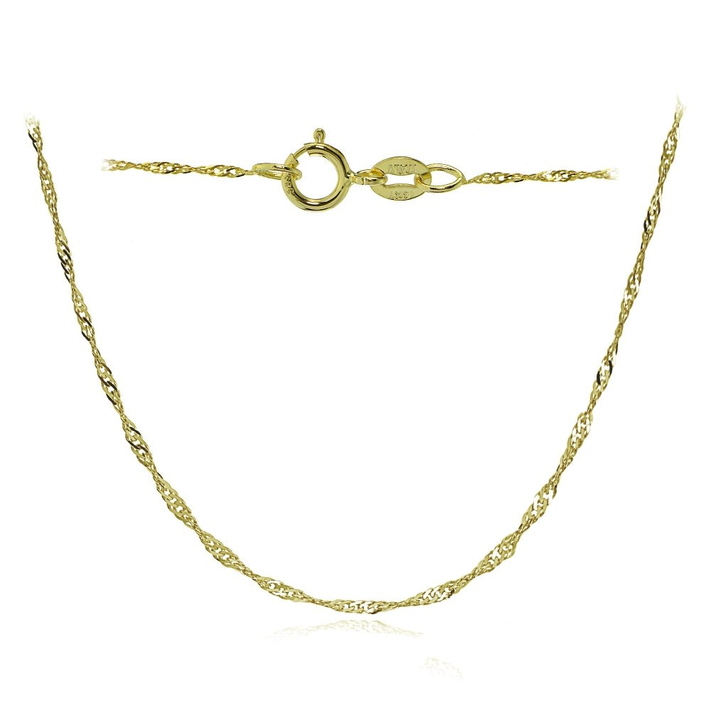 Bria Lou 14k Yellow Gold .9mm Italian Singapore Chain Necklace, 24 Inches