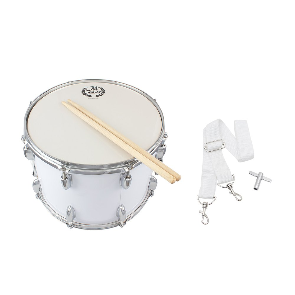 ammoon 14in Marching Drum Stainless Steel & Maple Wood Body PVC Drumhead with Sticks Shoulder Strap Key for Student Professional Drummer