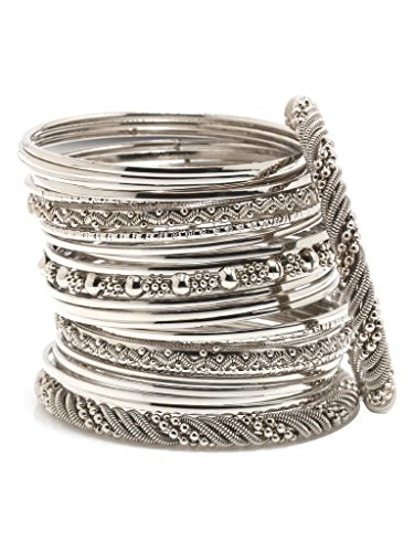 Bindhani Antique Silver Plated Bohemian Jewelry Boho Bangle Set by Bindhani