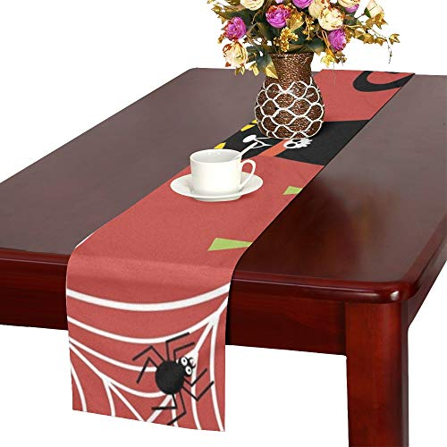 Black Cat Halloween Pumpkin Halloween Table Runner, Kitchen Dining Table Runner 16 X 72 Inch for Dinner Parties, Events, Decor