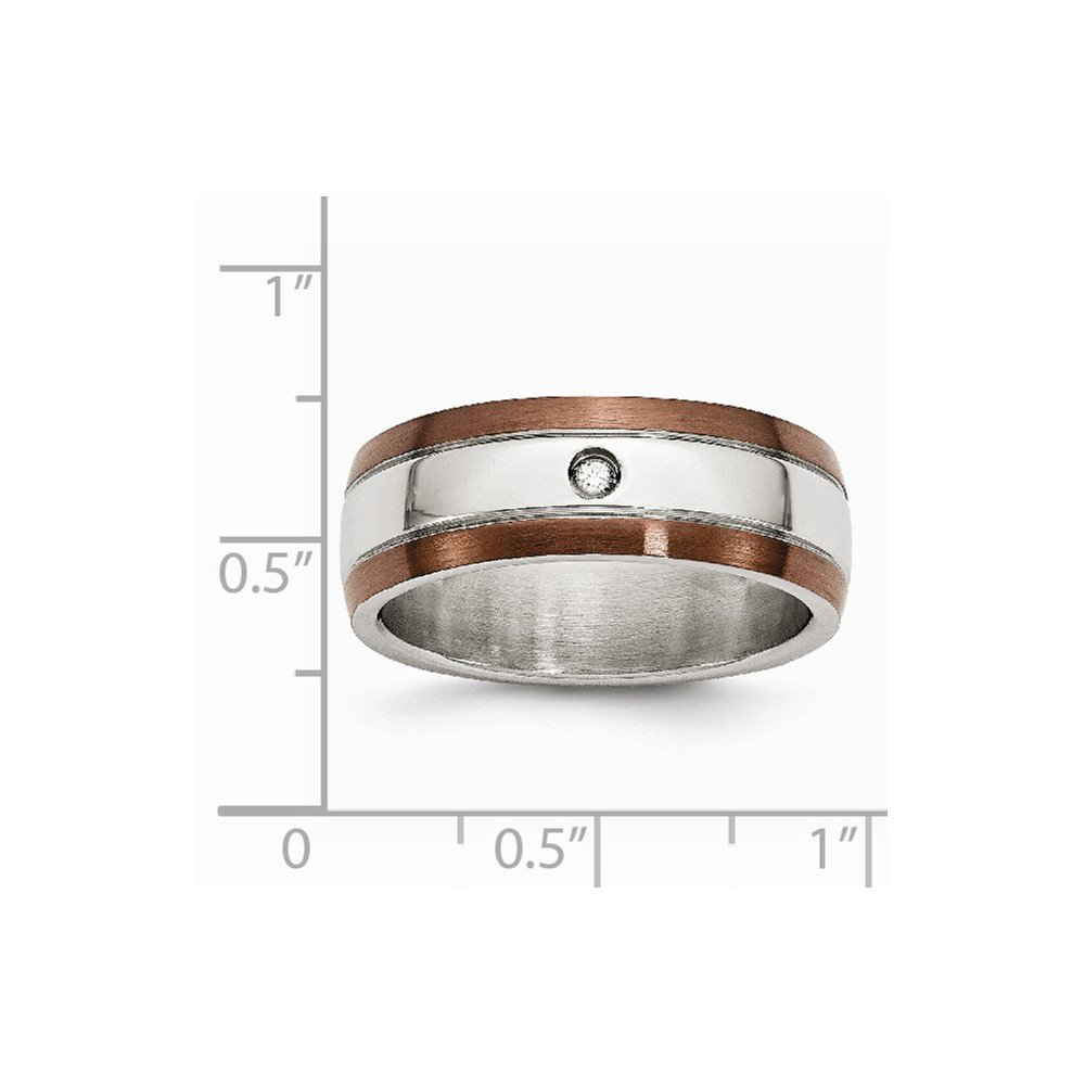 0.04 ct White Diamond Stainless Steel Brown Rhodium Plated Band Ring Ideal Gifts for Women