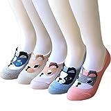 5 Pairs Women's No Show liner Socks Cotton Non Skid Flat Boat Low Cut Socks ...