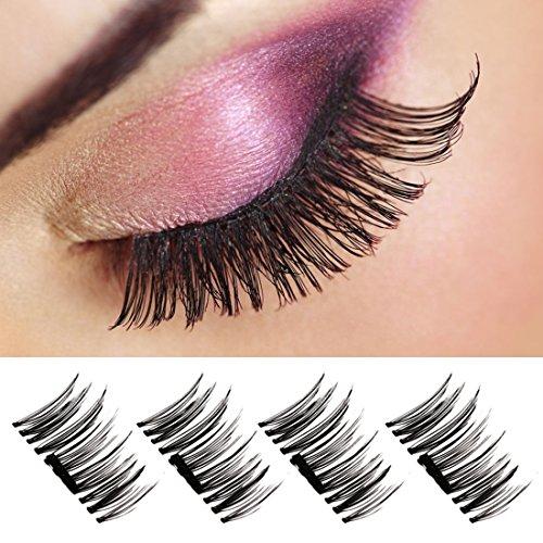 Magnetic Eyelashes-3D False Eyelashes,1 Pairs Long Handmade Eyelashes Makeup Natural Fake Black Eyelashes Cosplay For Halloween
