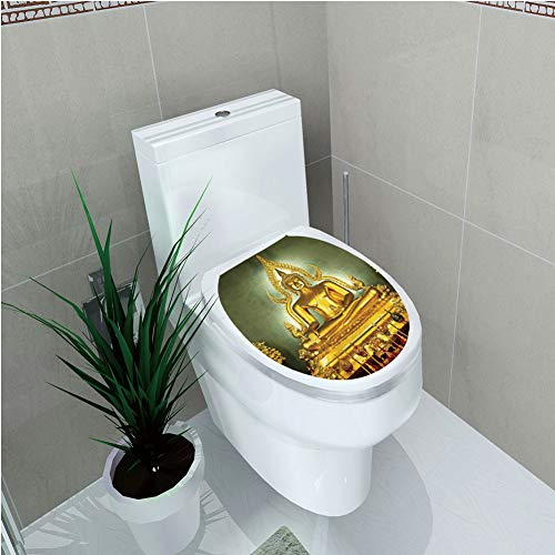 Toilet Cover Decoration,Asian Decor,Golden Statue on Throne Meditation Nirvana Pray Indian Classic Art Home Decorative Image,Golden Navy,3D Printing,W12.6''xH14.9'' by iPrint