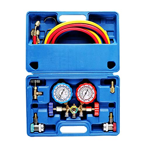 - OrionMotorTech 3 Way AC Diagnostic Manifold Gauge Set for Freon Charging, Fits R134A R12 R22 and R502 Refrigerants, with 5FT Hose, Acme Tank Adapters, Adjustable Couplers and Can Tap