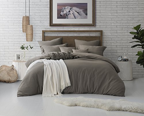 Swift Home Microfiber Washed Crinkle Duvet Cover & Sham (1 Duvet Cover with Zipper Closure & 2 Pillow Shams), Premium Hotel Quality Bed Set, Ultra-Soft & Hypoallergenic – Full/Queen, Driftwood by Swift Home