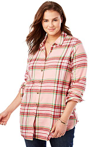 (Woman Within Women's Plus Size Classic Flannel Shirt - Pink Sorbet Plaid, M)