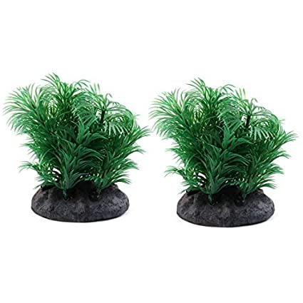 eDealMax Planta plástico acuario Artificial Decoración Submarino paisaje Artificial Waterscape ornamento DE 2 piezas Verde