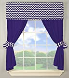 Plum Bedding and Curtain Sets Baby Doll Bedding Chevron Window Valance and Curtain Set, Plum