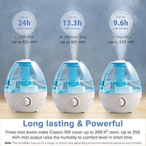 51KFJ5jLAuL. AC - LEVOIT Cool Mist Humidifiers For Bedroom, 2.4L Ultrasonic Air Vaporizer For Babies [BPA Free], 24dB Ultra Quiet, Optional Night Light, Filterless, 0.63gal, Blue