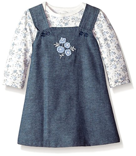 Rene Rofe Baby Little Girls' Newborn and Infant 2 Pc Jumper and Bodysuit, Periwinkle Floral, 3-6 Months