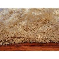 Fur Accents Faux Fur Accent Rug / Tan/ Camel Beige Rectangle Area Carpet 60 X 70