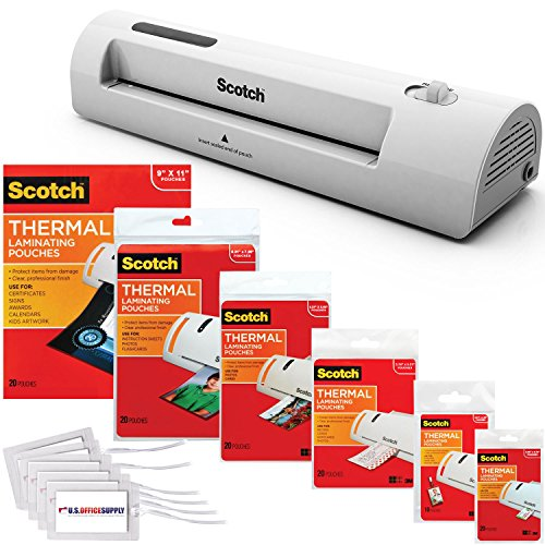 Scotch TL901 Thermal Laminator 2 Roller System with 110 Assorted Pouch Sizes and Bonus US Office Supply Luggage Tags