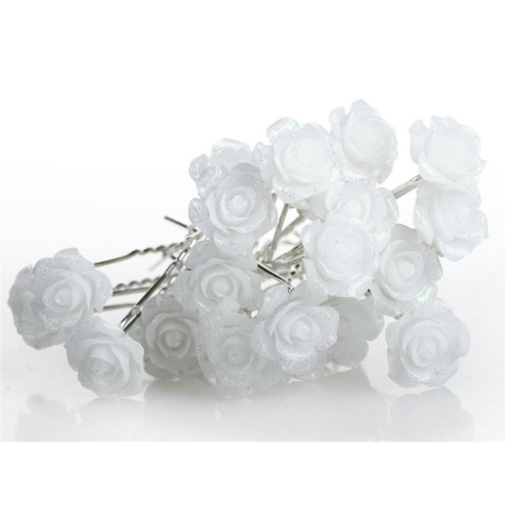 20 x Stunning Diamante Floral Rose Flower Hair Pins Bridal Wedding Flower Rhinestone Crystals U Shaped Pins Available In Many Colors X6LXI8Dw7E