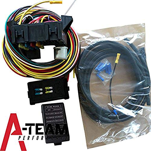 A-Team Performance 8-Circuit Basic Wire Kit Small Wiring Harness Cable Pigtail Compatible with Rat Street Rod Sand Car Truck (Hot Rod A C)