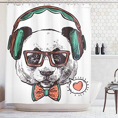 - Ambesonne Animal Decor Shower Curtain, Panda Bear Glasses Bows Headphones Listening to Music Heart Art, Fabric Bathroom Decor Set Hooks, 70 Inches, Multicolor
