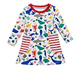 HEHEM Baby Clothes Newborn Outfits Kids Children Kids Girls Long Sleeves Printed Dress Spring Autumn Casual Cartoon Dress 0-7 Years