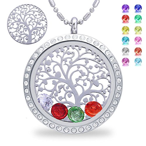 (Family Tree of Life Floating Living Memory Locket Pendant Necklace with Birthstone, All Charms Included (stainless-steel-diamond))