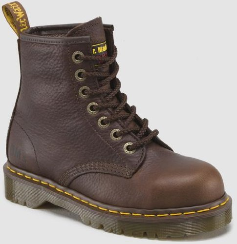 Cap Toe 10 Eye Boot (Dr. Martens Men's/Women's Icon 7B10 Boot,Bark,9 UK/10 M US)