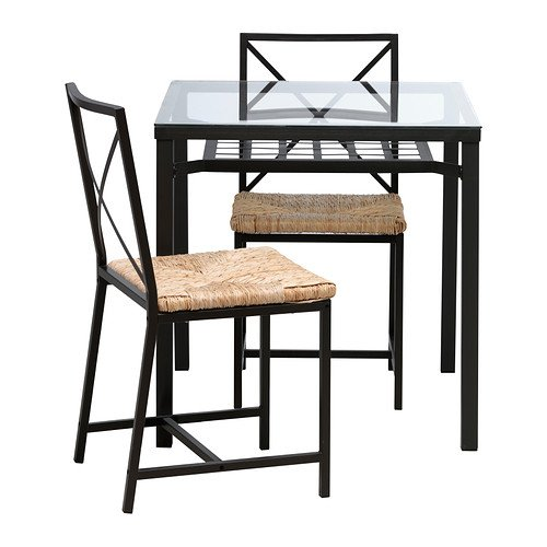 IKEA Table and 2 chairs, black, glass 426.2382.2230 (Furniture Ikea Sets Room Dining)