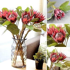 dezirZJjx Artificial Flowers 1Pc King Protea Artificial Flower Fake Plant DIY Wedding Bouquet Party Decor - Beige 2