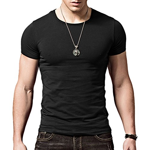 XShing Cotton Men's T-Shirt Comfort-Soft Fitness Crew-Neck T-Shirts (XXXL, Black)
